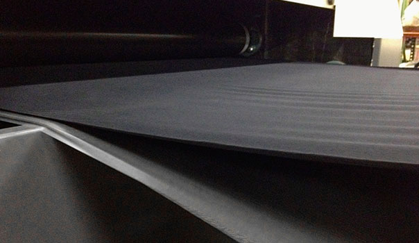 Foam, film and fabric substrates entering laminator